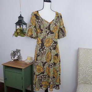LOFT Floral Boho Babydoll Dress Puffer Sleeve Sz 6